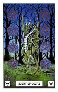 Eight of Coins Tarot Card - Dragon Tarot Deck