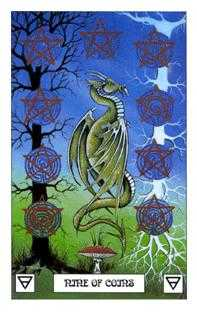 Nine of Coins Tarot Card - Dragon Tarot Deck