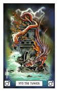 The Tower Tarot card in Dragon deck