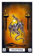 Two of Wands Tarot card in Dragon deck