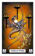 Three of Wands Tarot card in Dragon deck