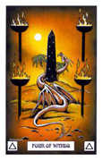 Four of Wands Tarot card in Dragon deck