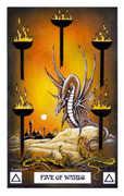 Five of Wands Tarot card in Dragon deck