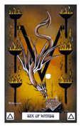 Six of Wands Tarot card in Dragon deck