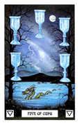 Five of Cups Tarot card in Dragon deck