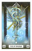 Ace of Swords Tarot card in Dragon Tarot deck