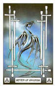 Seven of Swords Tarot card in Dragon deck