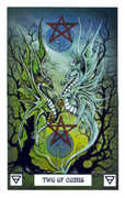Two of Coins Tarot card in Dragon deck