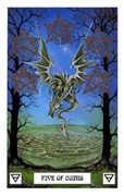 Five of Coins Tarot card in Dragon Tarot deck