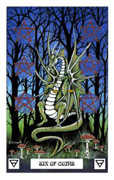 Six of Coins Tarot card in Dragon deck