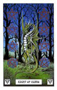 Eight of Coins Tarot card in Dragon deck
