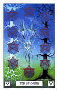 Ten of Coins Tarot card in Dragon deck