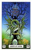 Queen of Coins Tarot card in Dragon deck