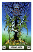 King of Coins Tarot card in Dragon deck