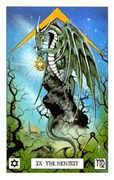 The Hermit Tarot card in Dragon deck
