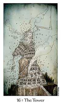 The Blasted Tower Tarot Card - Dreaming Way Tarot Deck