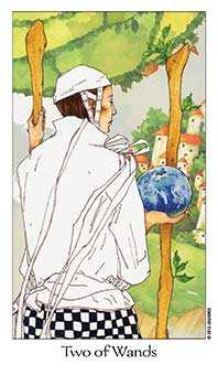 Two of Rods Tarot Card - Dreaming Way Tarot Deck