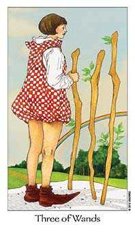 Three of Batons Tarot Card - Dreaming Way Tarot Deck