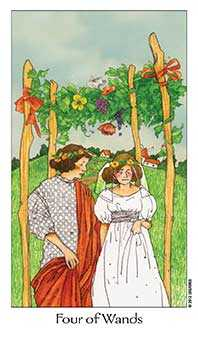 Four of Batons Tarot Card - Dreaming Way Tarot Deck