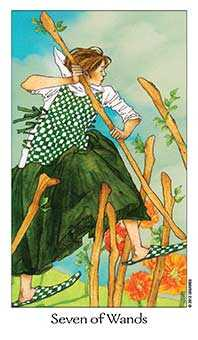 Seven of Batons Tarot Card - Dreaming Way Tarot Deck