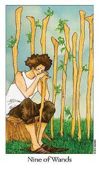Nine of Staves Tarot Card - Dreaming Way Tarot Deck