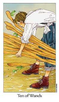 Ten of Sceptres Tarot Card - Dreaming Way Tarot Deck