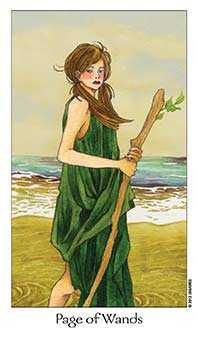 Daughter of Wands Tarot Card - Dreaming Way Tarot Deck