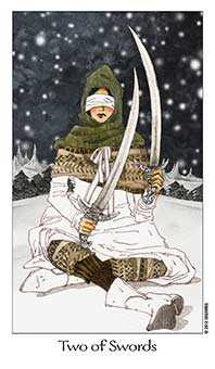 Two of Arrows Tarot Card - Dreaming Way Tarot Deck