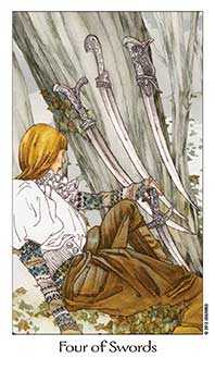 Four of Arrows Tarot Card - Dreaming Way Tarot Deck