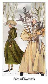 Five of Wind Tarot Card - Dreaming Way Tarot Deck