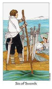 Six of Arrows Tarot Card - Dreaming Way Tarot Deck