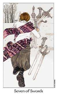 Seven of Arrows Tarot Card - Dreaming Way Tarot Deck