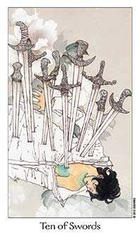 Ten of Arrows Tarot Card - Dreaming Way Tarot Deck