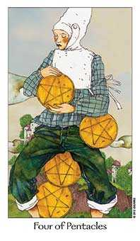 Four of Pumpkins Tarot Card - Dreaming Way Tarot Deck