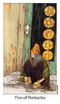 Five of Coins Tarot Card - Dreaming Way Tarot Deck