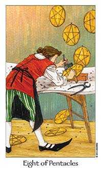 Eight of Coins Tarot Card - Dreaming Way Tarot Deck