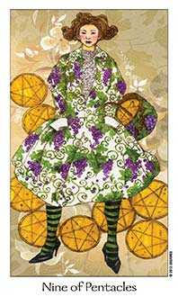 Nine of Pumpkins Tarot Card - Dreaming Way Tarot Deck