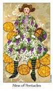 Nine of Coins Tarot card in Dreaming Way Tarot deck