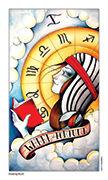 Wheel of Fortune Tarot card in Eight Coins' Tattoo Tarot deck