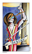 Justice Tarot card in Eight Coins' Tattoo Tarot deck