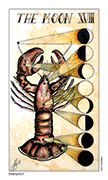The Moon Tarot card in Eight Coins' Tattoo Tarot deck