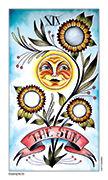 The Sun Tarot card in Eight Coins' Tattoo Tarot deck