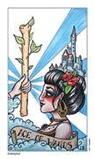 Ace of Wands Tarot card in Eight Coins' Tattoo Tarot deck