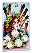 Six of Wands Tarot card in Eight Coins' Tattoo Tarot deck