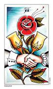 Two of Cups Tarot card in Eight Coins' Tattoo Tarot deck