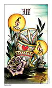 Three of Cups Tarot card in Eight Coins' Tattoo Tarot deck