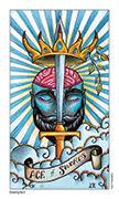 Ace of Swords Tarot card in Eight Coins' Tattoo Tarot deck