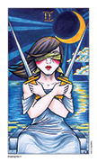 Two of Swords Tarot card in Eight Coins' Tattoo Tarot deck