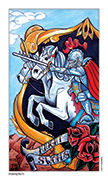 Knight of Swords Tarot card in Eight Coins' Tattoo Tarot deck