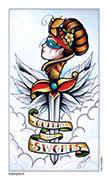 Queen of Swords Tarot card in Eight Coins' Tattoo Tarot deck